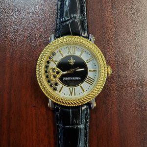 Judith Ripka Black Strap Floating Gemstones Watch